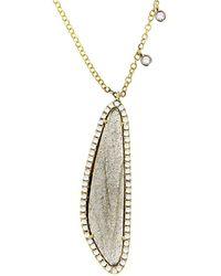 Meira T 14k & Silver 3.49 Ct. Tw. Diamond & Blue Labradorite Necklace - Metallic