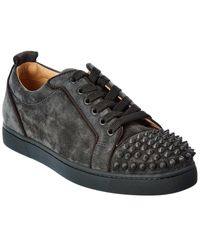 Christian Louboutin Louis Junior Spikes Orlato Suede Trainer - Green