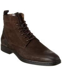 Karl Lagerfeld Plain Toe Side Zip Leather Boot - Brown