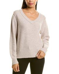 RAFFI Oversize Cashmere V-neck Jumper - Grey