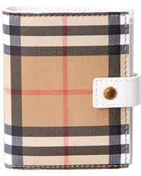 Burberry - Small Vintage Check & Leather Folding Wallet - Lyst