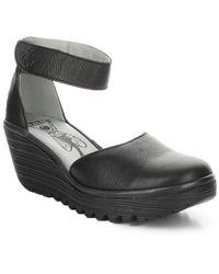 Fly London Yand Leather Wedge Sandal - Black
