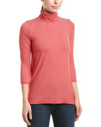 Three Dots High-low Turtleneck Top - Red