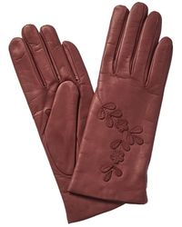 Portolano Leather Cashmere Lined Gloves - Red
