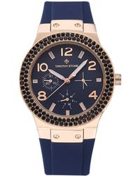 Timothy Stone 'facon' Sporty Chic Crystal Accented Silicone Strap Watch - Blue