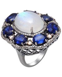 Arthur Marder Fine Jewelry Silver 1.75 Ct. Tw. Diamond & Gemstone Ring - Blue