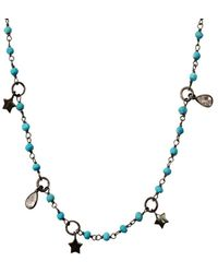 Adornia Silver 4.00 Ct. Tw. Turquoise Rosary Bead Necklace - Metallic