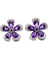 Arthur Marder Fine Jewelry Silver 0.80 Ct. Tw. Diamond & Amethyst Earrings - Purple