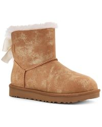 UGG Mini Bailey Bow Glimmer Suede Boot - Brown