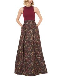 Kay Unger Mikela Floral Jacquard Halter Gown W/ Crepe Bodice & Pockets - Brown