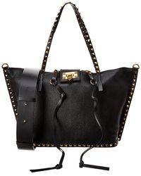 Valentino Rockstud Hype Medium Grainy Leather Tote - Black