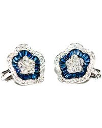 Arthur Marder Fine Jewelry 18k 7.00 Ct. Tw. Diamond & Sapphire Flower Earrings - Blue