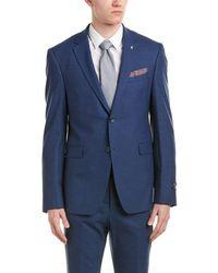 Original Penguin Slim Fit Wool-blend Suit With Flat Front Pant - Blue