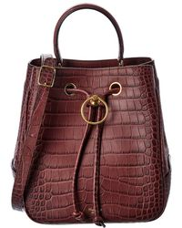 Mulberry Hampstead Croc-embossed Leather Bucket Bag - Red