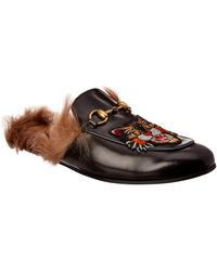Gucci Princetown Angry Cat Leather Slipper