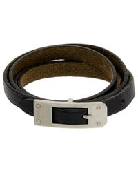 Hermès - Silver-tone Black Leather Wrap Bracelet - Lyst