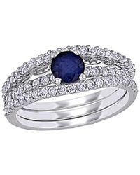 Rina Limor 14k 0.59 Ct. Tw. Diamond & Sapphire Ring - Blue
