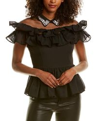 Gracia Mesh Peplum Top - Black