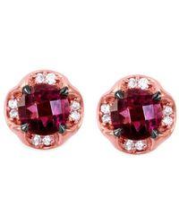 Le Vian ? 14k Strawberry Gold? 1.38 Ct. Tw. Diamond & Rhodolite Earrings - Red