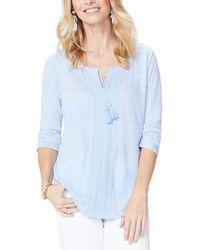NYDJ 3/4-sleeve Linen Lace-trim Henley Top - Blue