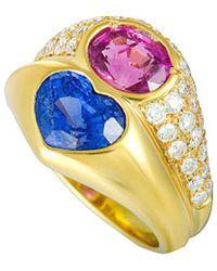 BVLGARI - Bulgari 18k 5.14 Ct. Tw. Diamond & Sapphire Heart Ring - Lyst