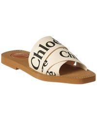 Chloé Woody Logo-print Canvas Sandals - White