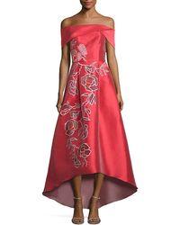 Sachin & Babi - Sachin & Babi Michelle Off-the-shoulder Floral Applique Gown - Lyst