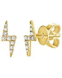 Sabrina Designs 14k 0.11 Ct. Tw. Diamond Lightning Bolt Studs - Metallic