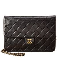 0bc5eb3c48 Chanel - Black Quilted Lambskin Leather Ex Bag - Lyst