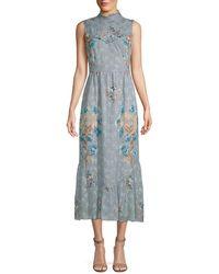 Anna Sui - Decoupage Rose Border & Violet Midi Dress - Lyst