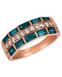 Le Vian 14k Rose Gold 1.12 Ct. Tw. Diamond & Topaz Ring - Blue