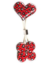 Louis Vuitton Silver-tone Stephen Sprouse Painted Ceramic Leopard Hair Tie - Red