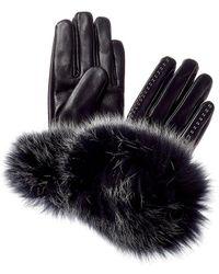 La Fiorentina Stitch Detail Leather Gloves - Black