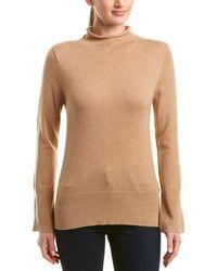 White + Warren Wool & Cashmere-blend Funnel Neck Pullover - Brown