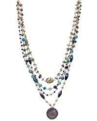 Saachi Smoky Quartz Marie Beaded Layered Necklace - Metallic