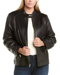 Cole Haan Plus Ribbed Leather Jacket - Black