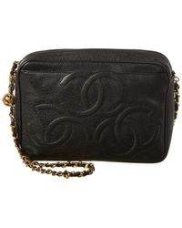 967b0f85647 Chanel Black Quilted Caviar Leather French Riviera Medium Flap Bag ...