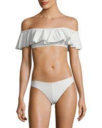 Mouillé Swimwear 2pc Charlotte Off-the-shoulder Tiered Bikini - White