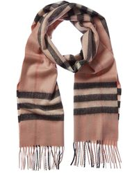 Burberry Giant Icon Check Scarf In Ash Rose Cashmere - Pink