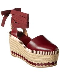 Tory Burch Dandy Espadrille Wedge - Red