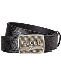 Gucci Logo Buckle Leather Belt - Black