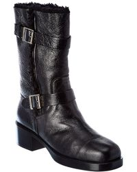 Dior Leather Combat Boot - Black