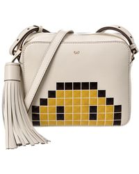 Anya Hindmarch Pixel Smiley Leather Crossbody - White
