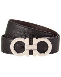 Ferragamo Double Gancio Buckle Reversible Leather Belt - Black