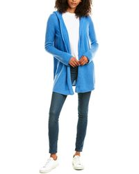 Forte Open Front Cashmere Hoodie - Blue