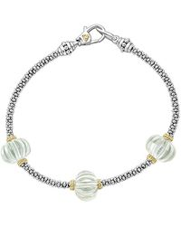 Lagos Caviar Forever 18k & Silver Green Amethyst Bracelet - Metallic