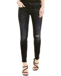 R13 Alison Black Snake Foil Print Skinny Leg