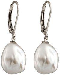 Splendid Silver Plated 11-12mm Freshwater Pearl Drop Earrings - Metallic