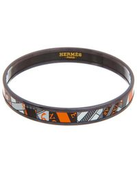 Hermès Palladium Printed Enamel Narrow Bangle Bracelet - Black