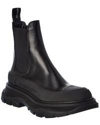 Alexander McQueen Tread Slick Leather Boot - Black